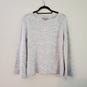 LOFT Gray Heather Soft Sweater with wide sleeves.